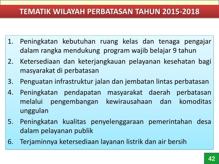 TEMATIK WILAYAH PERBATASAN TAHUN 2015-2018