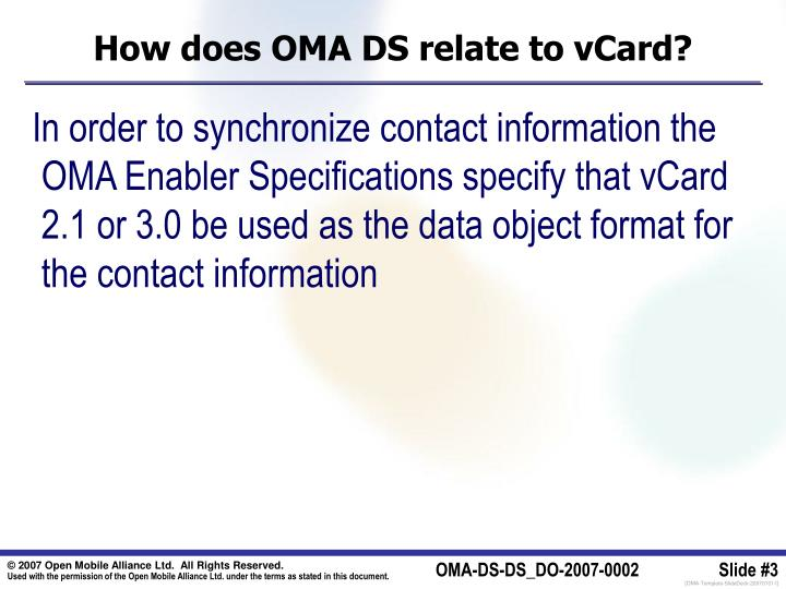 How does oma ds relate to vcard