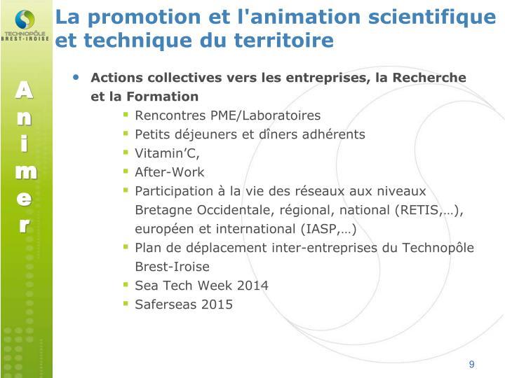 Actions collectives vers les entreprises, la Recherche et la Formation