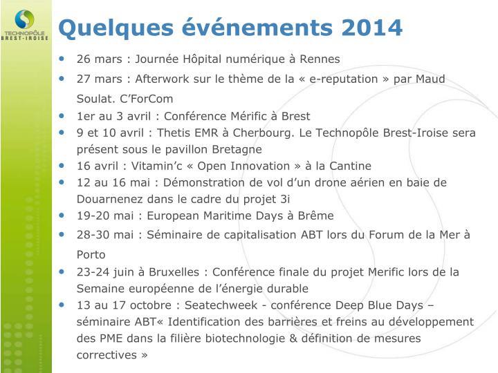Quelques événements 2014