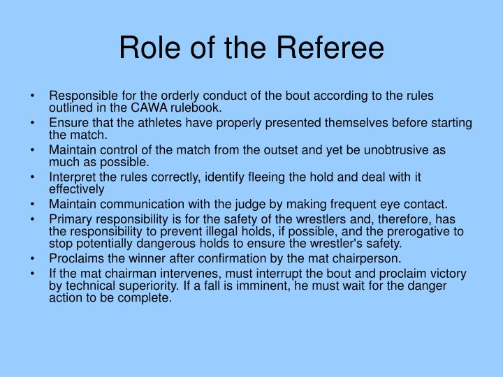 Role of the Referee