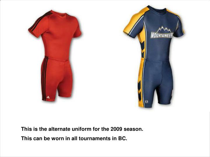 This is the alternate uniform for the 2009 season.