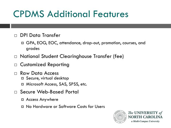 CPDMS Additional Features