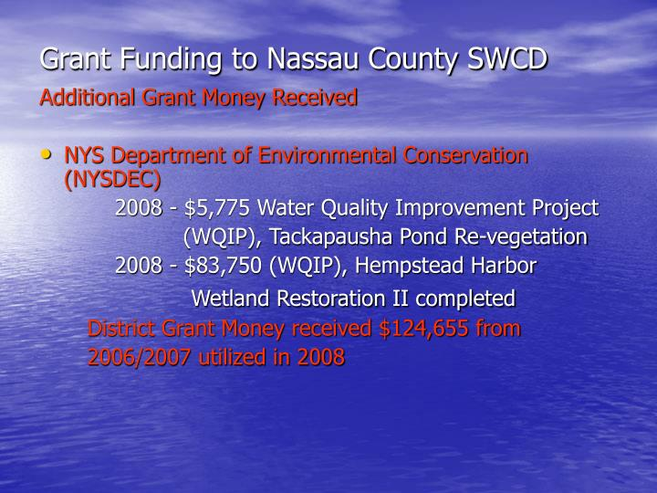 Grant Funding to Nassau County SWCD
