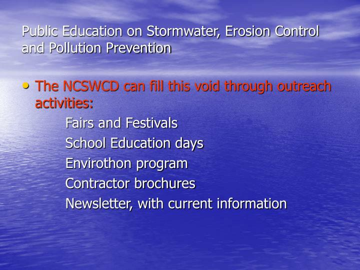 Public Education on Stormwater, Erosion Control and Pollution Prevention