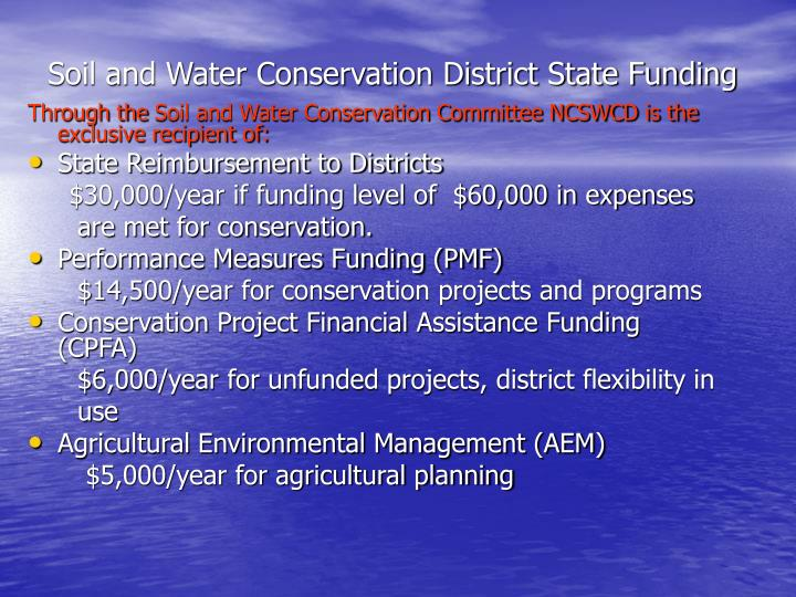 Soil and Water Conservation District State Funding