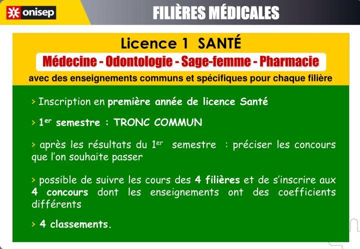 FILIÈRES MÉDICALES