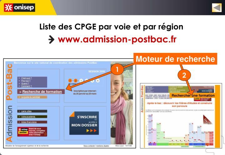 Liste des CPGE par voie et par région