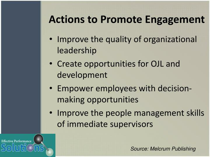 Actions to Promote Engagement