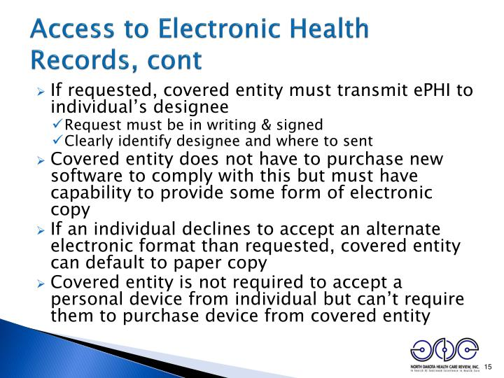Access to Electronic Health Records, cont