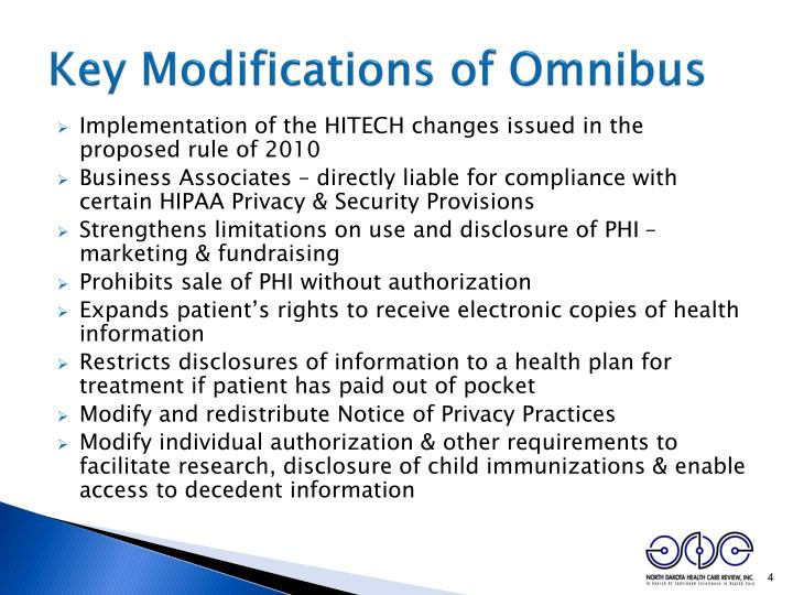 Key Modifications of Omnibus