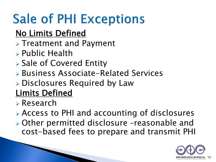 Sale of PHI Exceptions