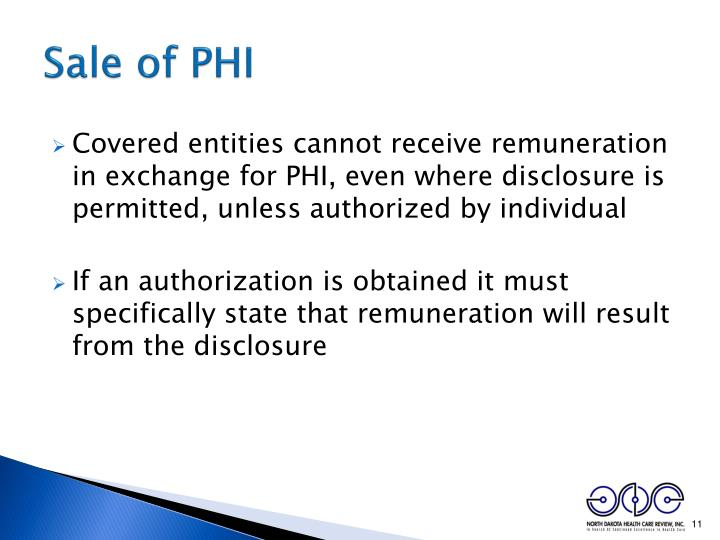 Sale of PHI