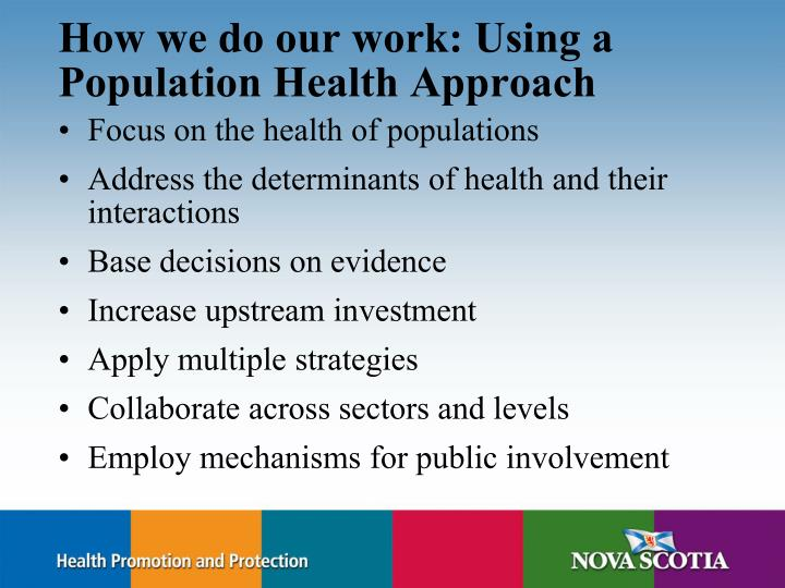 How we do our work: Using a Population Health Approach