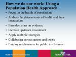 how we do our work using a population health approach