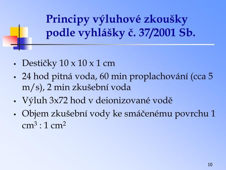 Principy výluhové zkoušky podle vyhlášky č. 37/2001 Sb.