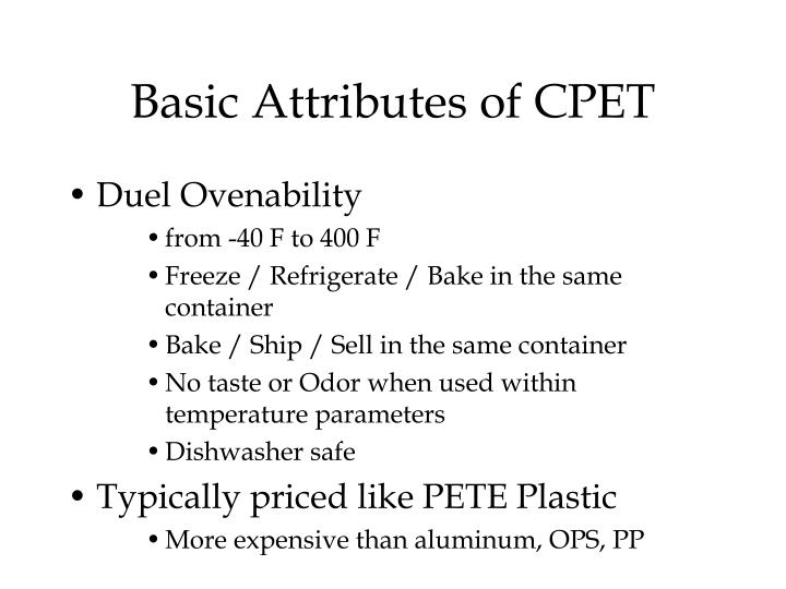 Basic Attributes of CPET