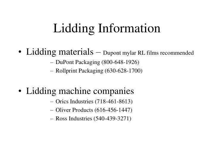 Lidding Information