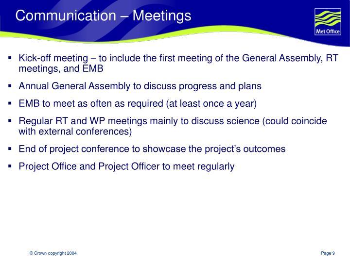 Communication – Meetings
