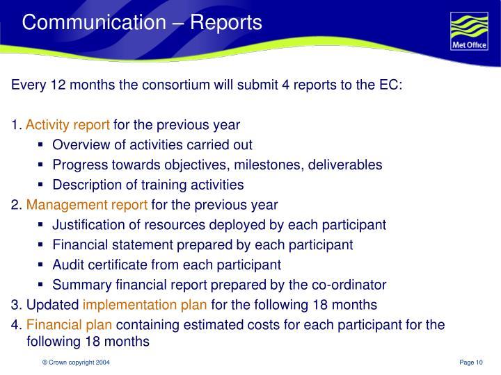 Communication – Reports