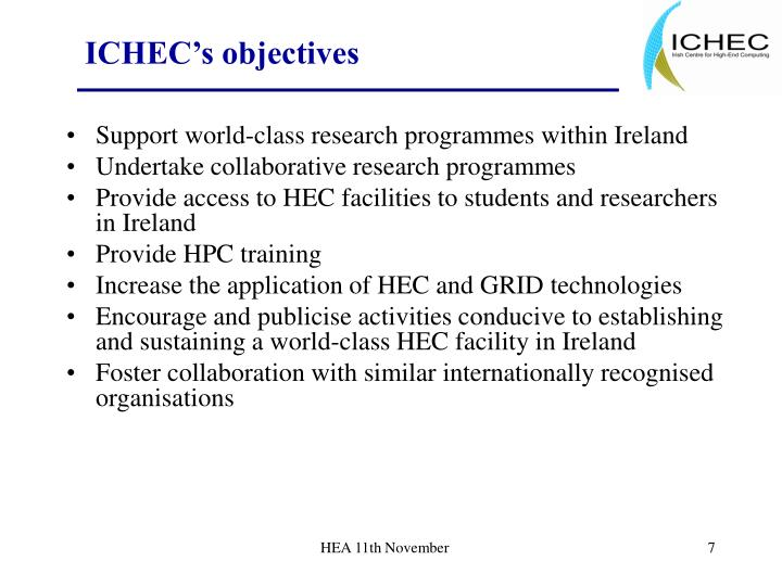 ICHEC's objectives