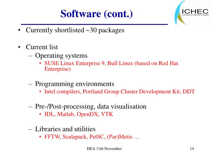 Software (cont.)