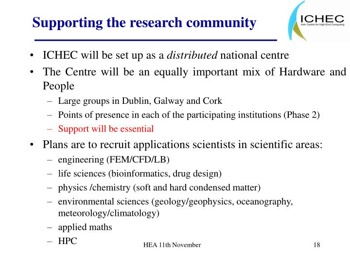 Supporting the research community
