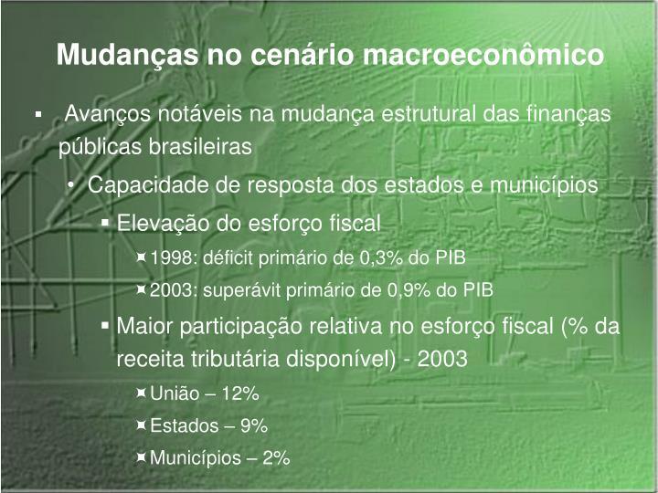 Mudanças no cenário macroeconômico