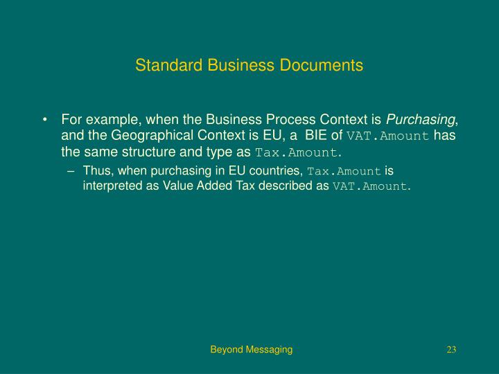 Standard Business Documents