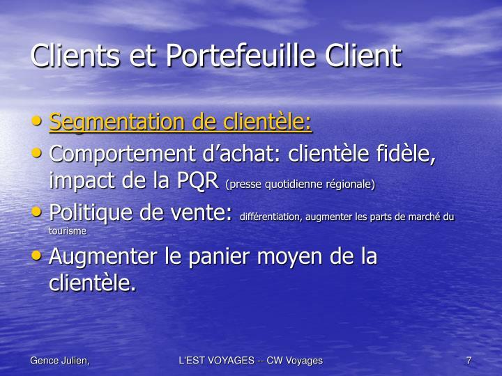 Clients et Portefeuille Client
