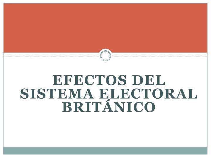 EFECTOS DEL SISTEMA ELECTORAL BRITÁNICO