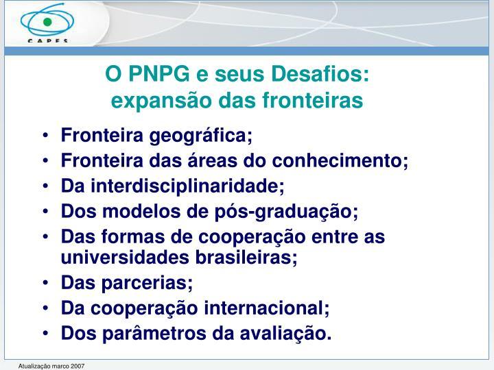 O PNPG e seus Desafios: