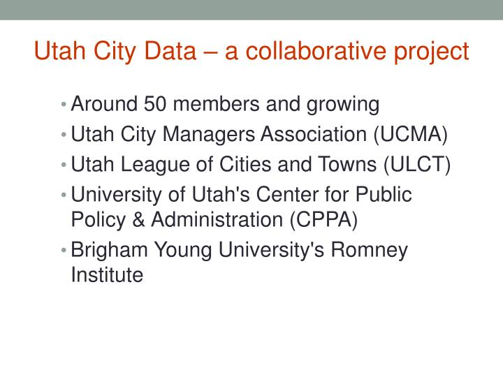 Utah City Data – a collaborative project