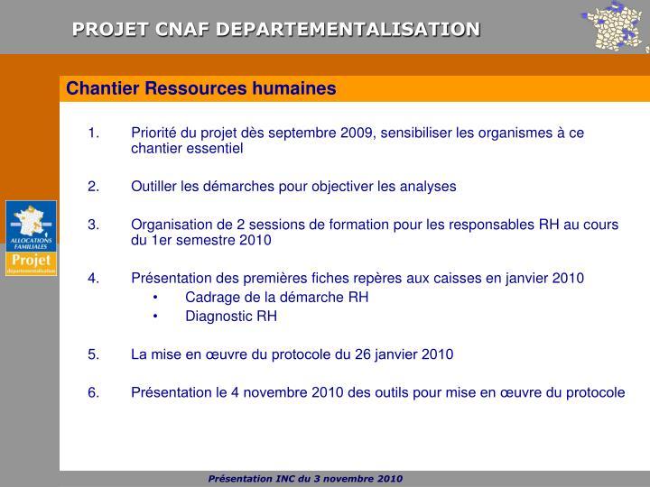 Priorité du projet dès septembre 2009, sensibiliser les organismes à ce chantier essentiel