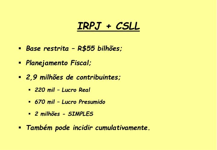 IRPJ + CSLL