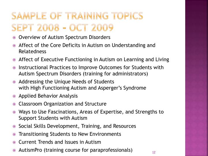 Sample of training Topics