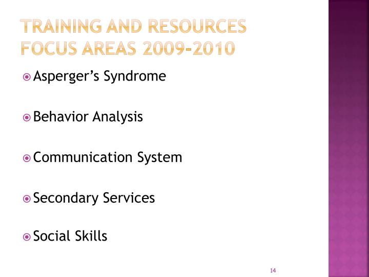 Training and Resources Focus Areas 2009-2010