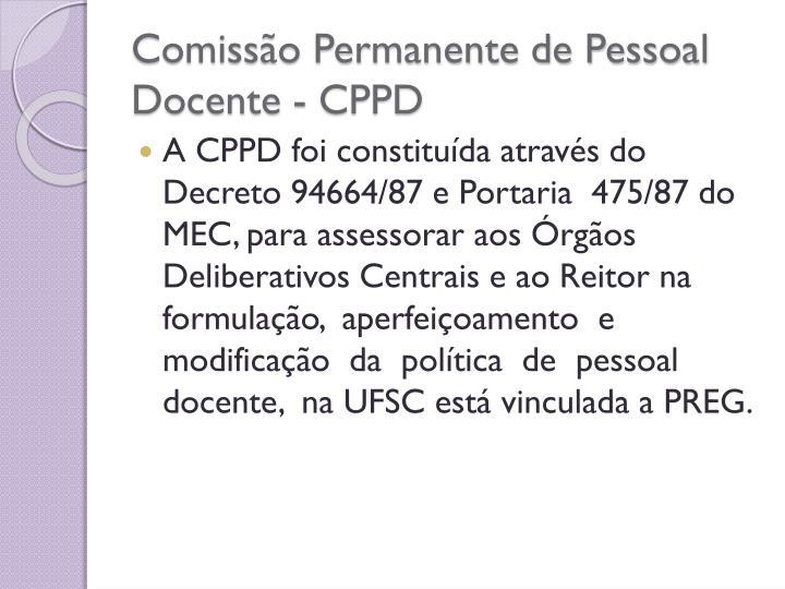 Comissão Permanente de Pessoal Docente - CPPD