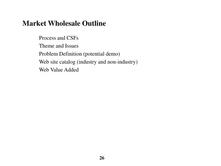 Market Wholesale Outline