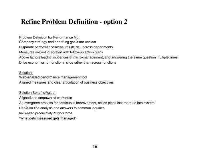 Refine Problem Definition - option 2