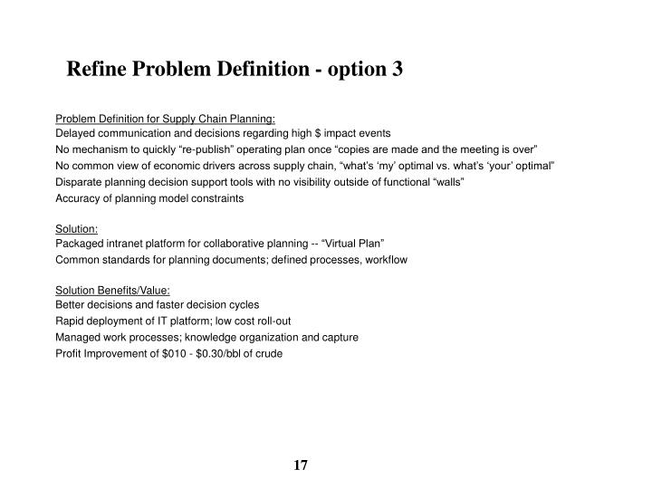 Refine Problem Definition - option 3