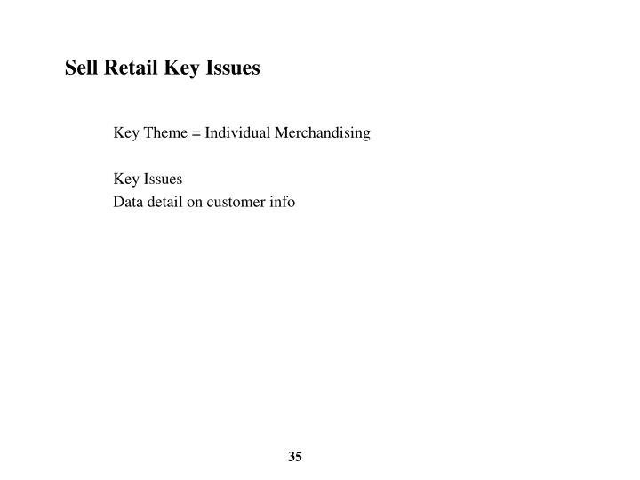 Sell Retail Key Issues
