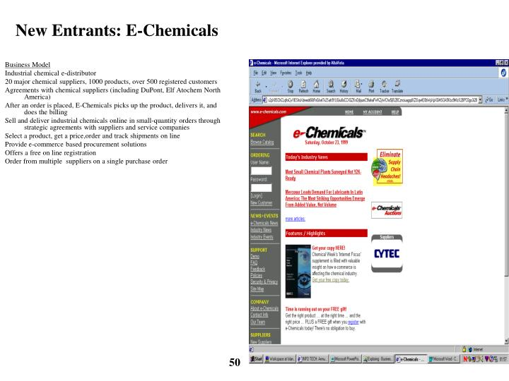 New Entrants: E-Chemicals