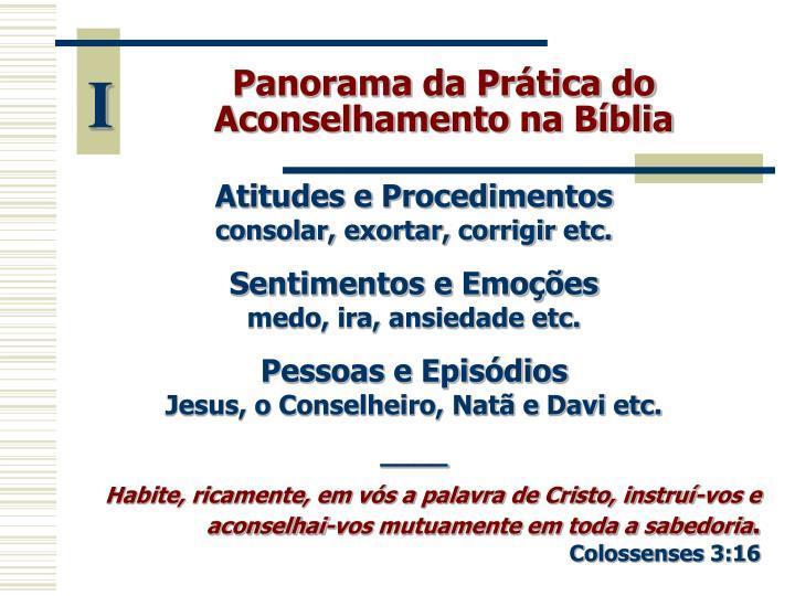 Panorama da Prática do Aconselhamento na Bíblia
