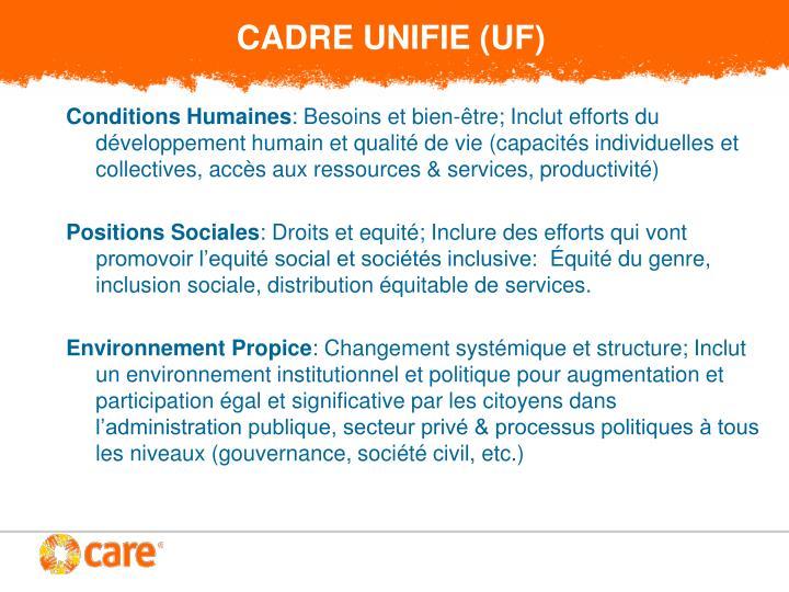 CADRE UNIFIE (UF)