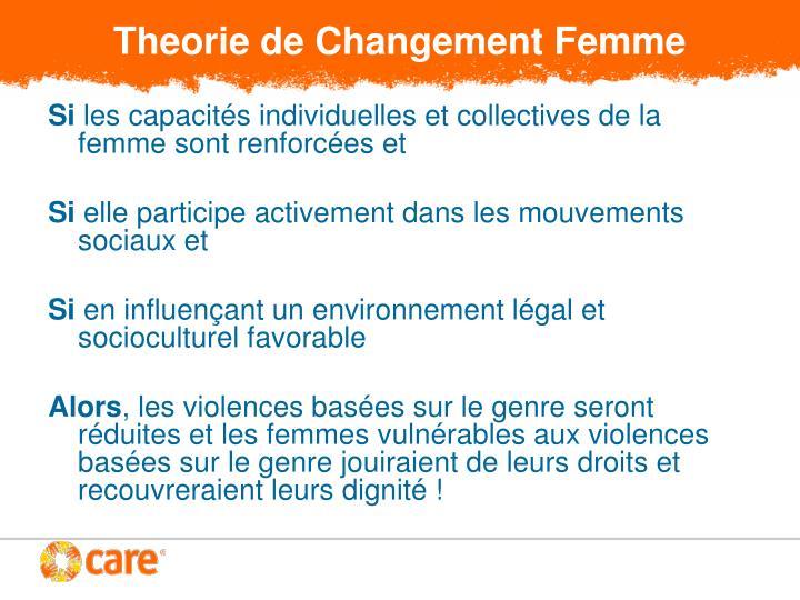 Theorie de Changement Femme