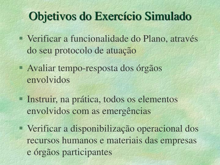 Objetivos do Exercício Simulado