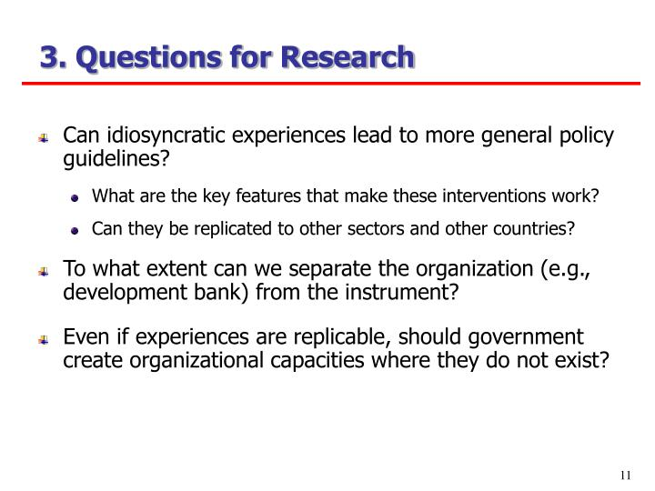 3. Questions for Research
