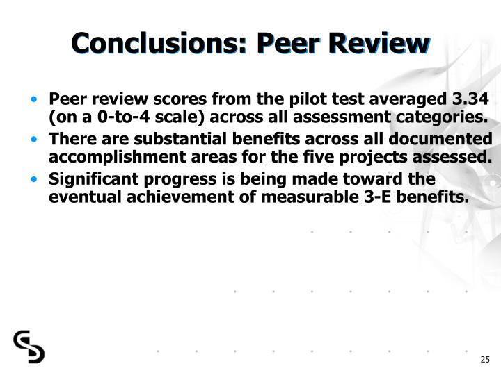 Conclusions: Peer Review