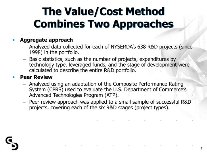The Value/Cost Method